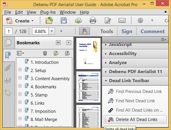 The Dead Link Toolbar in Debenu PDF Aerialist