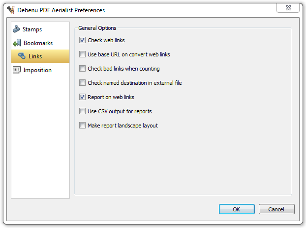 Preferences dialog for Debenu PDF Aerialist