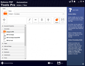 Creating an Image to PDF Action in the PDF Tools Pro Automation interface.