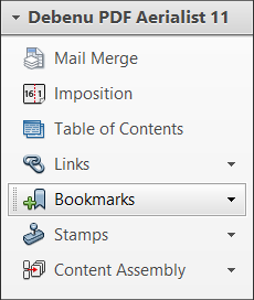 Bookmarks functions in menu.