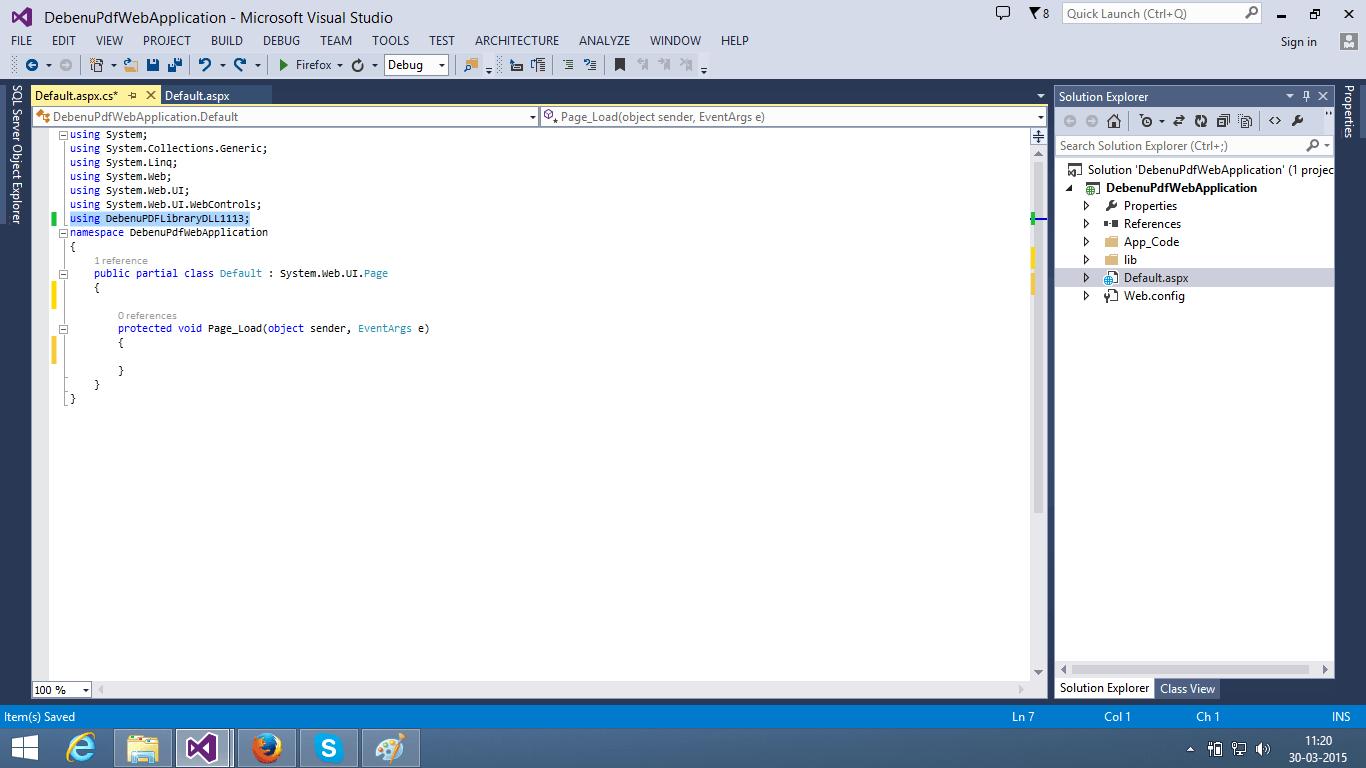 ASP NET Web Applications and Debenu Quick PDF Library