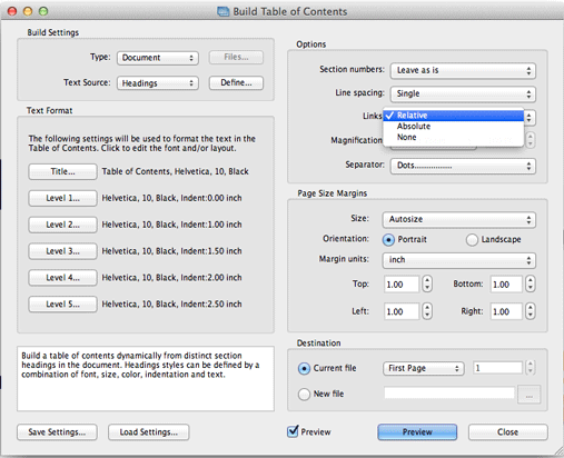how to create an automatic table of contents