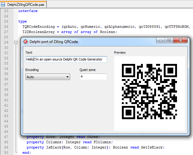 Screenshot of DelphiZXingQRCode