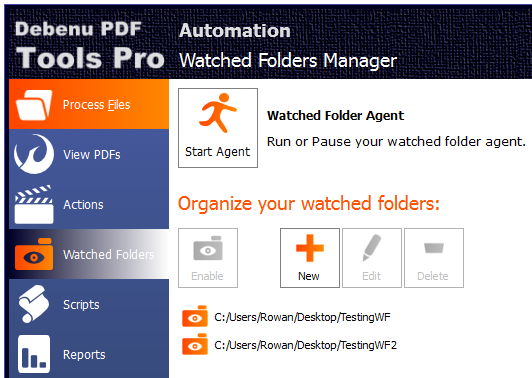 Screenshot of Watched Folders in PDF Tools Pro
