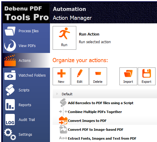 Screenshot of Actions in PDF Tools Pro
