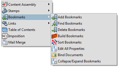 PDF Bookmarks menu