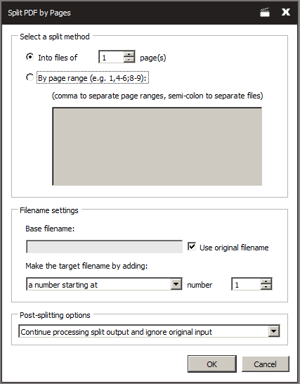 Screenshot of Split PDF by page dialog
