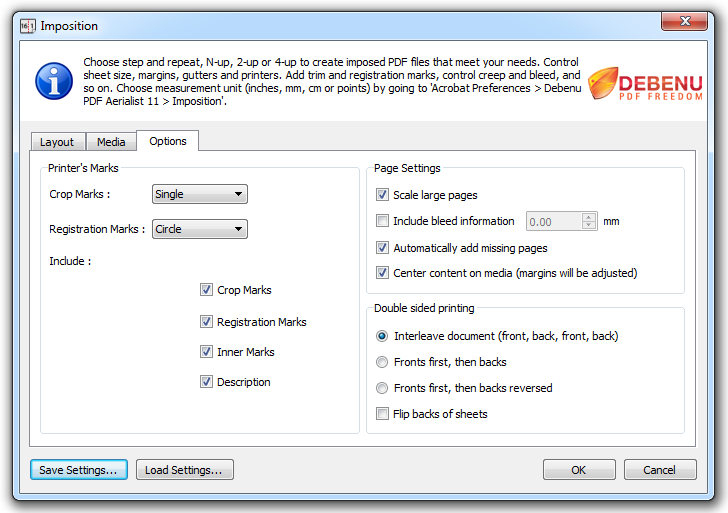 PDF Imposition Options Dialog