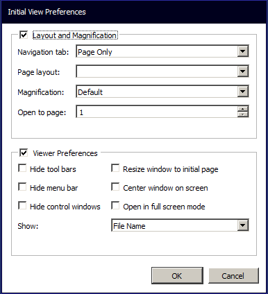 Initial View Settings Dialog
