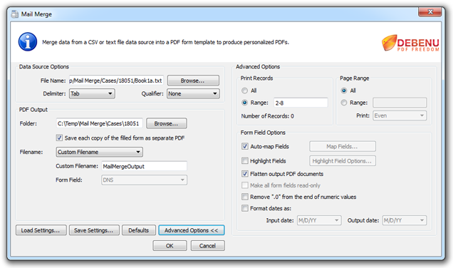 PDF Mail Merge Advanced Dialog Screenshot