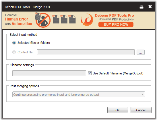 Merge PDF Dialog Screenshot