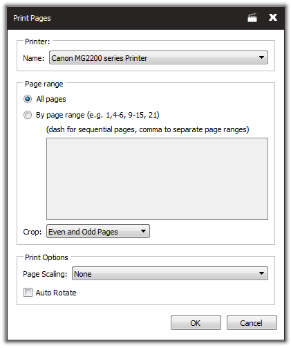 Screenshot of Print Pages Dialog