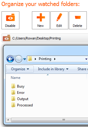 Print PDF files using Watched Folders Screenshot