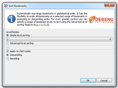 Sort Bookmarks Dialog Screenshot